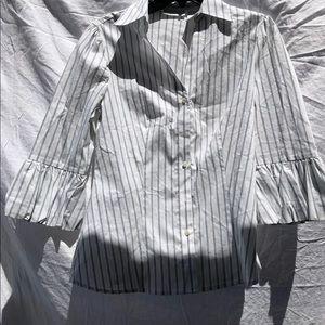 Worthington stretch white striped blouse
